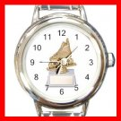 Roller Hockey Trophy Sports Round Italian Charm Wrist Watch 544