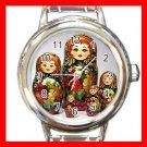 RUSSIAN NESTING DOLLS Round Italian Charm Wrist Watch 546