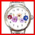 Colorful Daisy Flowers Round Italian Charm Wrist Watch 547