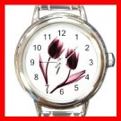 Dancing Tulips Flowers Round Italian Charm Wrist Watch 548