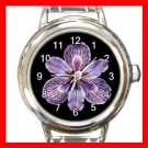 Tiger Iris Flowers Round Italian Charm Wrist Watch 551