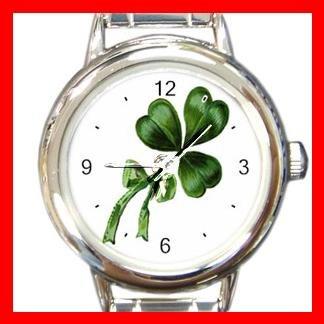 CELTIC IRISH SHAMROCK Round Italian Charm Wrist Watch 554