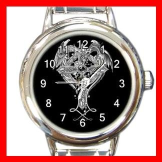Cross Sign Dragon Myth Round Italian Charm Wrist Watch 555