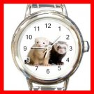 Cute Ferret Pet Animal Round Italian Charm Wrist Watch 556