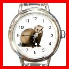 Cute Ferret Pet Animal Round Italian Charm Wrist Watch 557