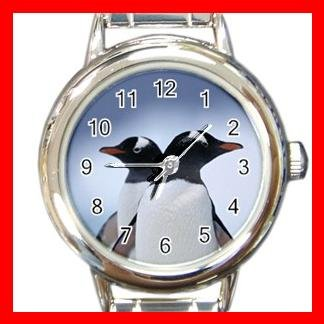 PENGUINs Couple Lover Animal Round Italian Charm Wrist Watch 558