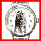 Curious Cat Pet Animal Round Italian Charm Wrist Watch 561