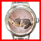 Kitten Sleeping Cat Pet Animals Hobby Round Italian Charm Wrist Watch 564