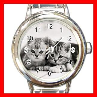 Two Kittens Cats Pet Animals Round Italian Charm Wrist Watch 567
