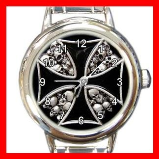 IRON CROSS SIGN SYMBOL SKULL Round Italian Charm Wrist Watch 570