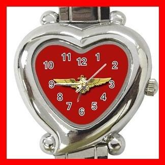 Red Marine Pilot Wings Amy Heart Italian Charm Wrist Watch 153