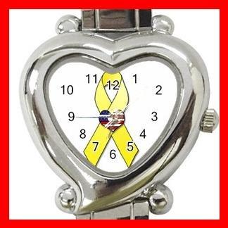 Yellow Ribbon US Flag Heart Italian Charm Wrist Watch 155