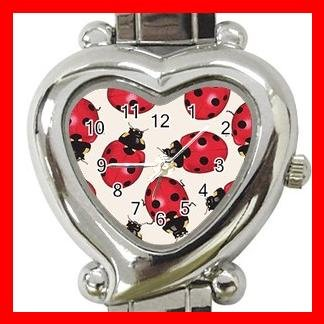Ladybugs Bugs Insects Heart Italian Charm Wrist Watch 157