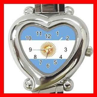 New Argentina Flag Heart Italian Charm Wrist Watch 159