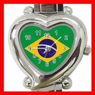 New Brazilian Flag Nation Patriotic Heart Italian Charm Wrist Watch 163