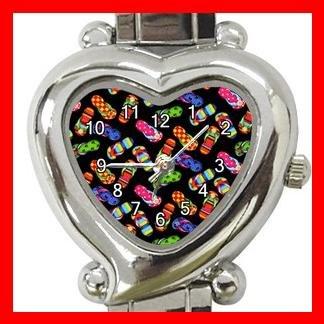 Flip Flops Slipper Heart Italian Charm Wrist Watch 165