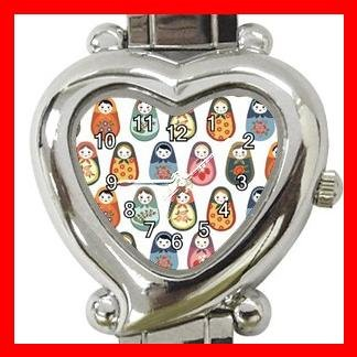 RUSSIAN NESTING DOLLS ARTS Heart Italian Charm Wrist Watch 166
