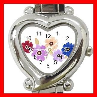 Colorful Daisy Flowers Heart Italian Charm Wrist Watch 167
