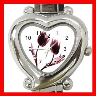 Tulips Flowers Heart Italian Charm Wrist Watch 168