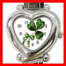 CELTIC IRISH SHAMROCK Flowers Heart Italian Charm Wrist Watch 170
