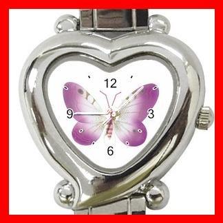 PINK BUTTERFLIES Fly Heart Italian Charm Wrist Watch 174