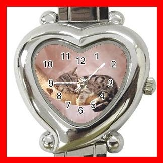 Kitten Sleeping Cat Pet Heart Italian Charm Wrist Watch 175