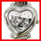 Two Kittens Cat Pets Heart Italian Charm Wrist Watch 177