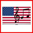 American Flag Music Notes Hobby Business Credit Card Case 69