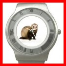 Cute Ferret Pet Animals Stainless Steel Wrist Watch Unisex 135