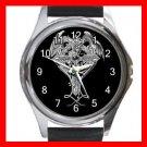 Cross Sign Dragon Myth Round Metal Wrist Watch Unisex 145