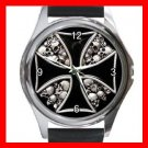 IRON CROSS SIGN SYMBOL SKULL Round Metal Wrist Watch Unisex 148