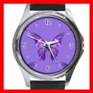 Purple Butterfly Fly Insect Hobby Round Metal Wrist Watch Unisex 154