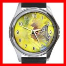 Butterfly on Sun Flowers Hobby Round Metal Wrist Watch Unisex 157