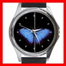 Classic Blue Butterfly Fly Hobby Round Metal Wrist Watch Unisex 158