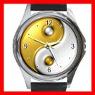 Gold Yin Yang Sign Fashion Hobby Round Metal Wrist Watch Unisex 160