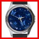 Blue Butterfly Fly Moon Hobby Round Metal Wrist Watch Unisex 161