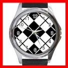 ARGYLE SQUARE Black White Color Round Metal Wrist Watch Unisex 172