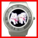 White Kittens Cats Pets Stainless Steel Wrist Watch Unisex 144