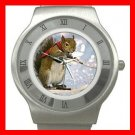 Cute Squirrel Skiing Sports Stainless Steel Wrist Watch Unisex 145