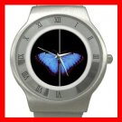 Classic Blue Butterfly Fly Stainless Steel Wrist Watch Unisex 155