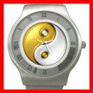 Gold Yin Yang Sign Fashion Stainless Steel Wrist Watch Unisex 157