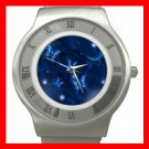 Blue Butterfly Fly Moon Stainless Steel Wrist Watch Unisex 158