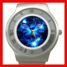 HOT Blue Butterfly Fly Stainless Steel Wrist Watch Unisex 159