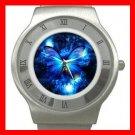 HOT Blue Butterfly Fly Stainless Steel Wrist Watch Unisex 159
