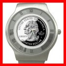 US QUARTER LIBERTY COIN MONEY Stainless Steel Wrist Watch Unisex 163