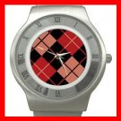 ARGYLE SQUARE Black Red Color Stainless Steel Wrist Watch Unisex 171