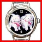 White Kittens Cats Pets Animals Round Italian Charm Wrist Watch 559