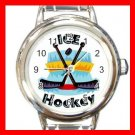 Ice Hockey Sports Game Hobby Round Italian Charm Wrist Watch 564
