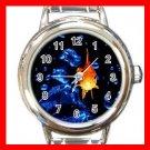 Golden Fish Swimming Luck Round Italian Charm Wrist Watch 565