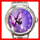 Purple Butterfly Light Fly Round Italian Charm Wrist Watch 568